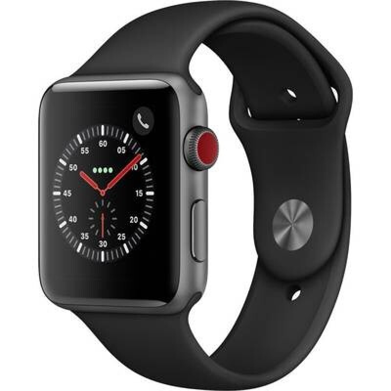 Apple Watch Series 3 GPS + Cellular 42 mm Aluminiumgehäuse Space Grau Sportarmband Schwarz