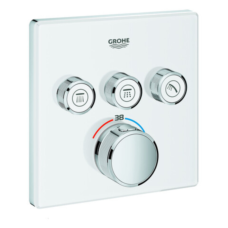 Grohe Thermostat GrohTherm SmartControl 29157 eckig fms 3 Absperrventile moon White